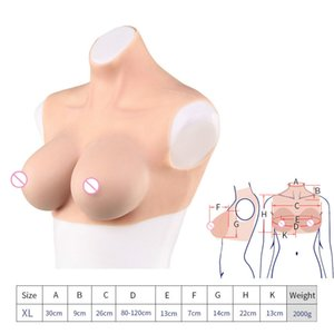 Chic E Cup Halfbody Silicone Breast Forms Clothes TG CD Artificial Boobs Enhancer Lingerie 2000g Color Beige Top Selling Product
