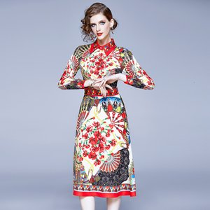2020 осень платье женщин Runway Designer Elegant Vintage цветочные платья рубашка с длинным рукавом Midi вскользь партия платья Рождество Красный