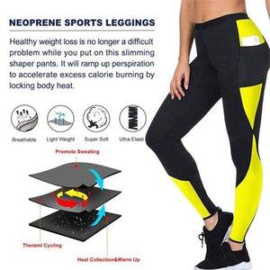 AprilGrass Patchwork Yoga Perda de Peso Leggings emagrecimento Pants Mulheres corredor da ginástica Bodyshaper bolso Thermo suor Leggings fitness Leggings