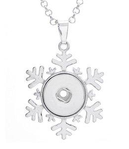 Monili della collana del pendente del fiocco di neve congelato Noosa dell'annata pezzi gioielli con bottoni automatici Collana fai-da-te Gioielli con bottoni automatici intercambiabili