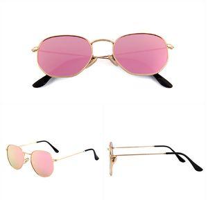 3548 gözlük karşıtı ultraviyole Güneş altıgen Sunglasses Retro renkli film düz polarize ayna UV400 beyzbol erkek Tasarımcı Güneş