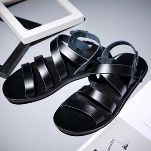 Mens sandali in vera pelle da uomo casual sandali da uomo gladiatore comodo morbido suola pantofole estate uomo scarpe fatte scarpe romane per gli uomini zy984