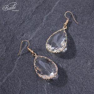 Badu Transparent Water Drop Кристалл мотаться серьги 2020 Модные ювелирные изделия для партии Женщины граненый кристалл падение серьги 7 цветов