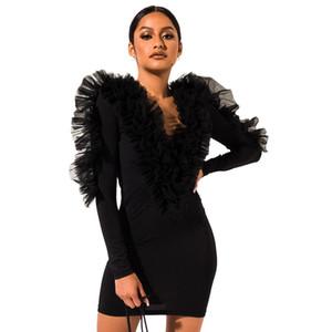 Günlük Elbiseler Mesh Ruffles Patchwork Seksi Mini Elbise Kadınlar Derin V Yaka BODYCON Elbiseler Şık Bayanlar Sonbahar Uzun Kollu Wrap Elbise