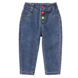 Children Jeans Pants Boys Girls Long Trousers Rainbow Button Casual Pants Girls 2 4 5 6 7 8 Age Sports Clothing 2020 Spring Fall