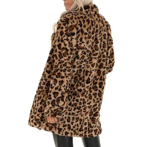 Women's Leopard Faux Fur Pocket Fuzzy Warm Winter Oversized Outwear Long Coat Winter Warm Soft Zipper Fur Jacket Female Coats