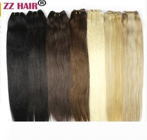 """100g pcs 16""""-24"""" Machine Made Remy Hair Weft Weaving 100% Human Hair Extensions Straight Natural Silk Non-clips Hairs"""