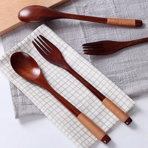 Eco-friendly Simplicidade japonês Handmade Natural Wood garfo colher Decor fio enrolado Sólidos de madeira Craft Gift Jantar Louça DH0408 T03