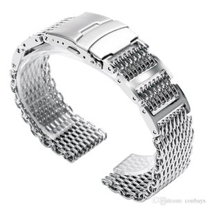 20mm / 22mm / 24mm Ancho Mesh Shark Silver Correa de reloj Correa de acero inoxidable de alta calidad Reloj fresco Reemplazos Corchete plegable