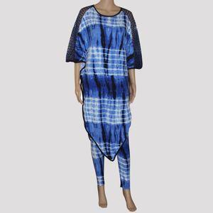 Tilapia 아프리카 Ankara 스타일 패션 Batwing 여성 세트 큰 크기 슈퍼 스트레치 엄마 복장 세트 Bazin 부자 두 개 세트 여성 Y19062601
