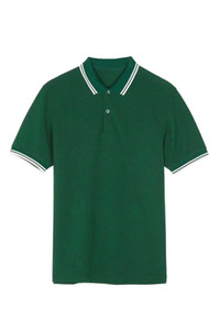 Suministro Nuevos Hombres de Verano Camisa de Polo de Londres Brit con Hoja de Algodón Hombre Inglaterra Polos Sólidos Camisetas de Manga Corta Camisetas Clásicas Verde