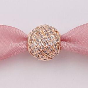 Authentique Argent 925 perles mousseux noeud d'amour, Rose clair Cz Fits bijoux européens Style Pandora Bracelets Collier 781537CZ R