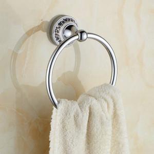 Античное серебро хром польский полотенце кольцо фарфор резные полотенце держатель стойки настенные аксессуары для ванной комнаты DL21