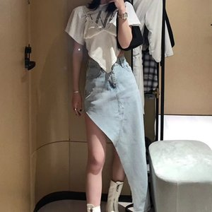 Женщины Юбка 2020 весной и летом новые Нерегулярные Юбка модная повседневная Нерегулярное Высокая талия-линии Denim юбка