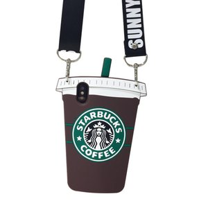 Для Iphone Xr Xs Max Чехол для телефона Starbucks Coffee Cup Lanyard 6 7 8 X Plus Все включено Силиконовые мягкие чехлы для мобильных телефонов