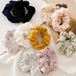 10 Renkler Vintage Katı Renk Saç Scrunchies Kadınlar Aksesuarları Saç Bantları Kravatlar Scrunchie at kuyruğu Tutucu Lastik Halat Dekorasyon M1666