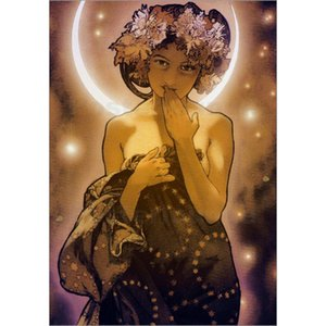Hand painted Beautiful woman La Luna - detail Alphonse Mucha paintings canvas artwork for office wall decor