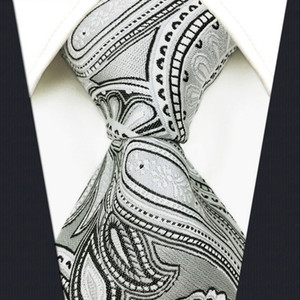 S7 Paisley 꽃 화이트 라이트 그레이 그레이 그레이 실버 블랙 추가 긴 크기 패션 망 넥타이 넥타이 100 % 실크