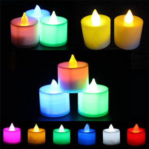 LED luz de la vela electrónica Siete lámpara de la vela de cumpleaños colorida sin llama de luz de la Navidad Decoración amarillo luz cálida T9I00196 vela blanca