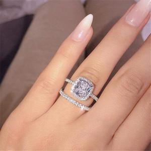 Regalo delle donne di nozze coppia anelli monili di lusso 925 Sterling Silver taglio rotondo 5A Cubic Zirconia CZ Eternity Diamond Bridal Party Ring Set