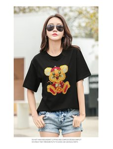 2041 Lucky Rat Model New Start 2020 Spring Summer Loose Heavy Industry Hot Rhinestone T-shirt Female Cartoon T-shirt Top