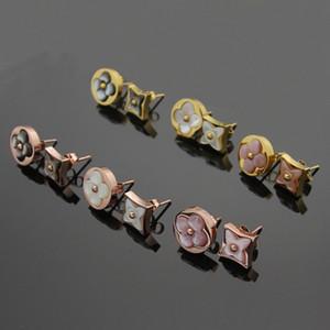 Nuova vendita calda in acciaio 316L titanio 1,4 cm orecchino rotondo con agata rosa e grigio e bianco regalo regalo gioielli donna di marca