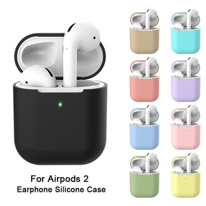 Casos fone de ouvido de silicone para Airpods 2 Skin luva Bolsa Box Protector Wireless Headphone tampa protetora Coque Airpods 2º Caso de carregamento