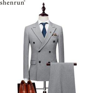 Shenrun 남성 정장 슬림 비즈니스 사무직 파티 웨딩 신랑 턱시도 단계 연회 저녁 저녁 식사 더블 브레스트 식스 버튼