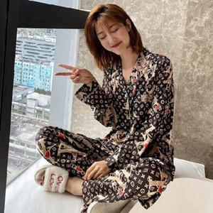 Le donne di lusso di seta del ghiaccio delle 2 parti camicia pigiama Summer Girl moda Sleepwear Nightgown Set di alta qualità casuale Home Abbigliamento