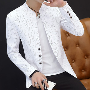 HO 2018 hombres casual collar chaqueta juventud guapo tendencia Slim imprimir blazer