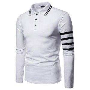 Stripe lambrissé Mens Designer Boutons de mode lambrissé Polos Hommes cou Lapel Polos manches longues Casual hommes Vêtements