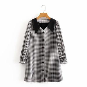 2020 Kadın Giyim Günlük Elbiseler sonbahar yeni küçük parfüm rüzgar siyah ve beyaz bebek yaka uzun kollu elbise kız kısa etek