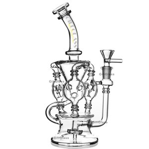 Klein Recycler Tornado Percolator Glass Bong Wax Pipe Bongs Water Pipes 오일 DAB 굴착기 Quartz Banger 또는 허브 그릇 Giliglass Dabber