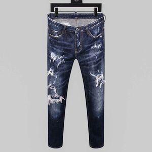 dsquared2 DSQ d2 mens jeans concepteur denim pantalon déchiré maigre noir de luxe la meilleure version marine ancienne mode Italie marque de moto ancienne école