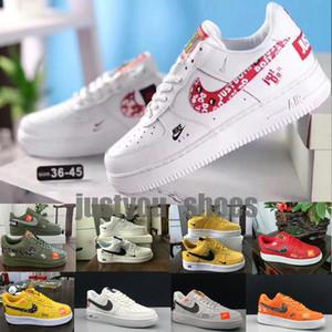 OFF White x Nike Air Force 1 OW Chaussures de course Blanc Vert Hommes Noir Planche à roulettes Chaussures femmes 1 Off Sport Baskets Designer Chaussures de sport 36-45