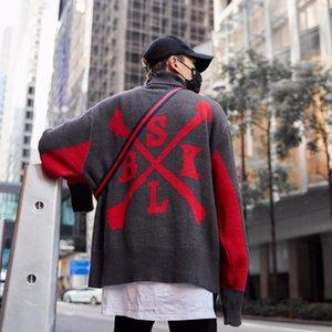Patchwork Örme Süveterler Erkek Hip Hop Nakış formasını baskı Letter Uzun Kollu Kazak Streetwear Tops giysi
