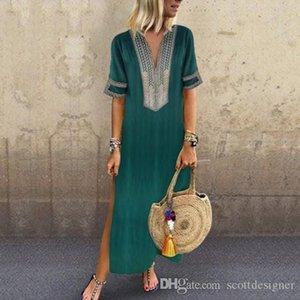 Femmes d'été Soild couleur Robes chemise col en V manches Mode Vêtements décontractés Sexy Longueur sol Vêtements