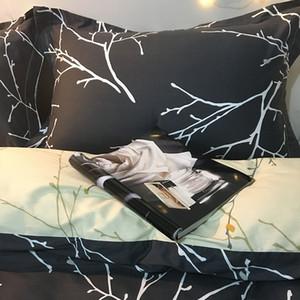 Hojas del norte de Europa-algodón del estilo de algodón de cuatro piezas del lecho de la hoja de cama compartida de tres piezas traje de los hombres de la cubierta del edredón