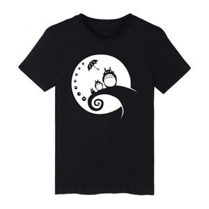 Komşum Totoro Tişörtleri Pamuk Kawaii Tee Gömlek Sevimli Yaz Kısa Kollu T-shirt Hayao Miyazaki Stüdyo Ghibli Totor Siyah 4xl Y19050701