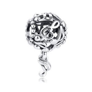 Novas autêntica prata esterlina 925 Beads céu aberto Notas da música Dangle Charms Pingente Beads único Diy Europeia pulseira marca Fine Jewelry