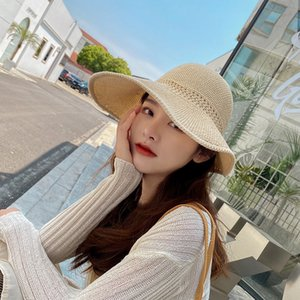 Classic Foldable Knitted Empty Top Hat Female Summer Sun Protection Bow Big Brim Hat Sun Protection Straw Hat Sun