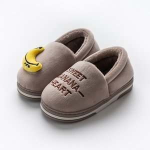 Kids Indoor Slippers Baby Boys Girls Letters Fruit Print Home Non-Slip Cute Warming Shoes Winter
