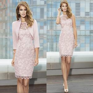 Peral Pink Lace Full Lace Madre de los vestidos de novia con chaqueta Sheer Jewel Cuello Longitud de la rodilla Vestido de cóctel para novios de boda Vestidos de madre
