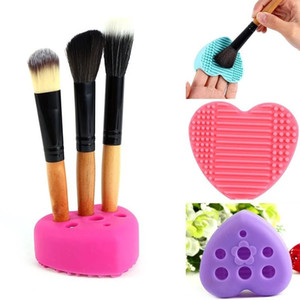 Forma de coração Escova De Silicone Escova Titular Cosméticos Maquiagem Escova De Lavar Gel de Limpeza Mat Fundação Maquiagem Escova de Limpeza Pad Scrubber