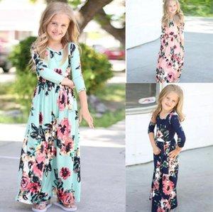 Niñas floral maxi vestidos de niños vestidos de flores de la vendimia de Bohemia vestido de fiesta del partido del vestido de cuello largo ocasional O Princess Vestido de tirantes ropa C6844