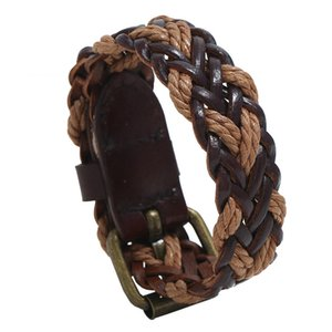 retro black leather rope braid bracelet men 2020 punk heren armband jewelry guitar bicycle accessories boyfriend gift wholesale