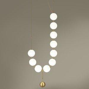 فاخر البساطة عقد من اللؤلؤ اللوبي الثريا فن الزجاج LightsLiving غرفة نموذج معرض قاعة مصابيح الشخصية فقاعة