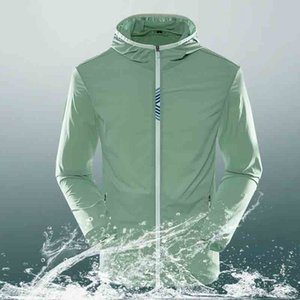 Sun-proof clothes men's ultra-thin jacket breathable ice silk plus fat Dalian Hat men's fast-dry skin clothing