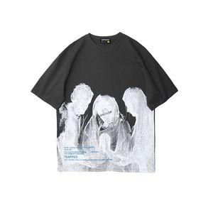 Nuevo verano O del cuello de los hombres y de las mujeres camiseta de manga corta de gran tamaño para hombre de las camisetas de manga corta floja Hip Hop Top Casual Tees