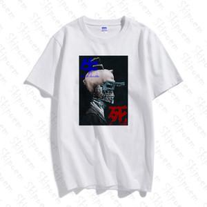 Raffreddare caratteri cinesi gotico maglietta dell'annata degli uomini Nuovo Hip Hop divertente Moda manica corta in cotone Skipoem estate Tops Streetwear